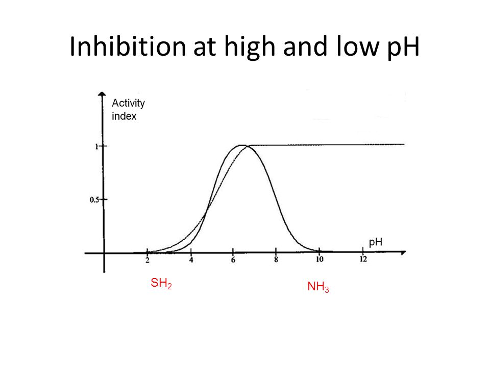 Inhibition at high and low pH SH 2 NH 3