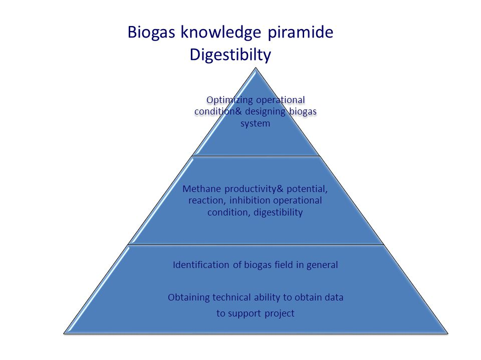 Biogas knowledge piramide Digestibilty Optimizing operational condition& designing biogas system Methane productivity& potential, reaction, inhibition