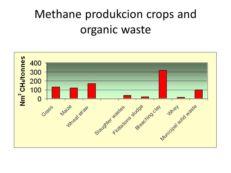 Methane produkcion crops and organic waste