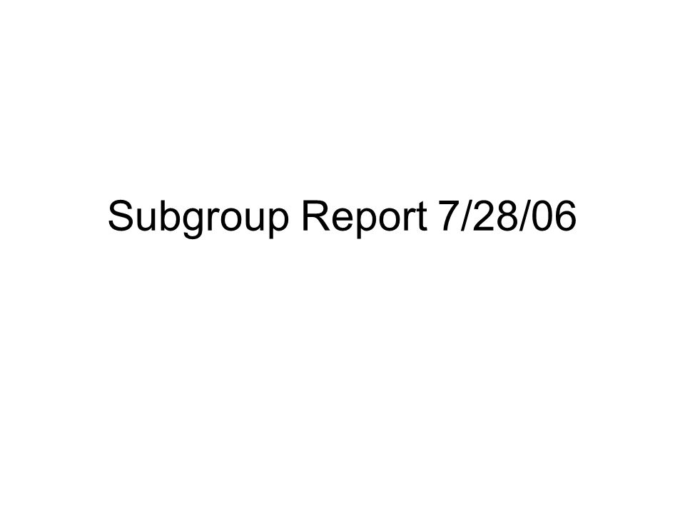 Subgroup Report 7/28/06
