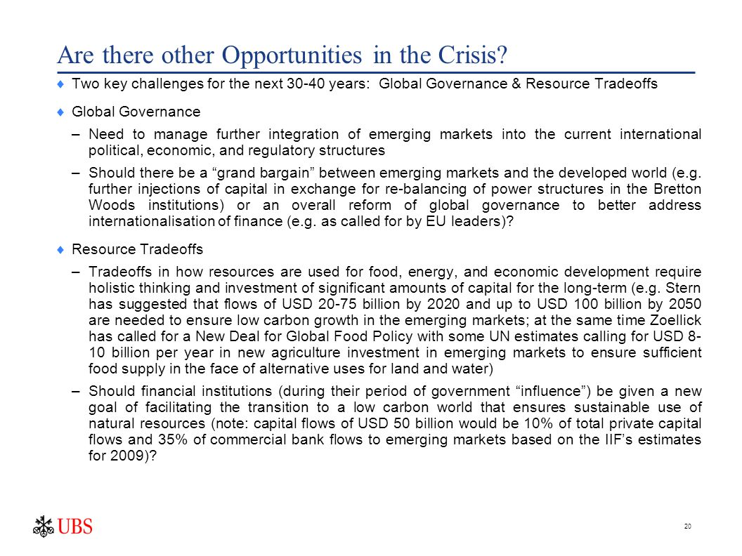 20 Are there other Opportunities in the Crisis.