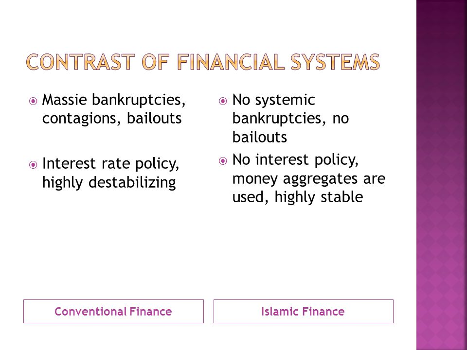 Conventional FinanceIslamic Finance  Massie bankruptcies, contagions, bailouts  Interest rate policy, highly destabilizing  No systemic bankruptcies, no bailouts  No interest policy, money aggregates are used, highly stable