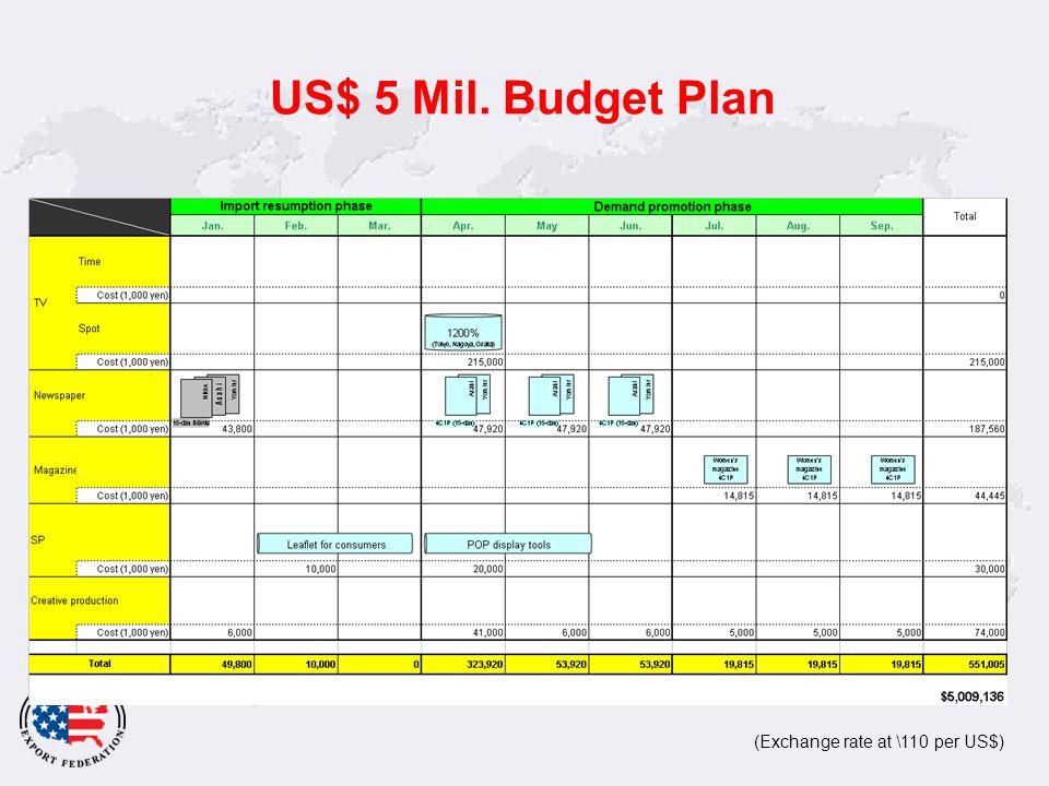 US$ 5 Mil. Budget Plan (Exchange rate at \110 per US$)