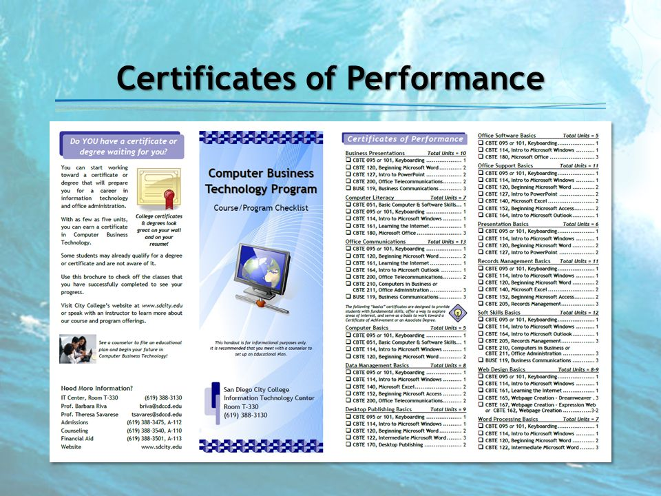 Certificates of Performance