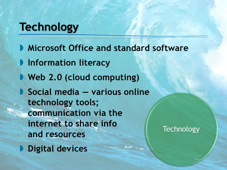 Technology Technology  Microsoft Office and standard software  Information literacy  Web 2.0 (cloud computing)  Social media — various online tech