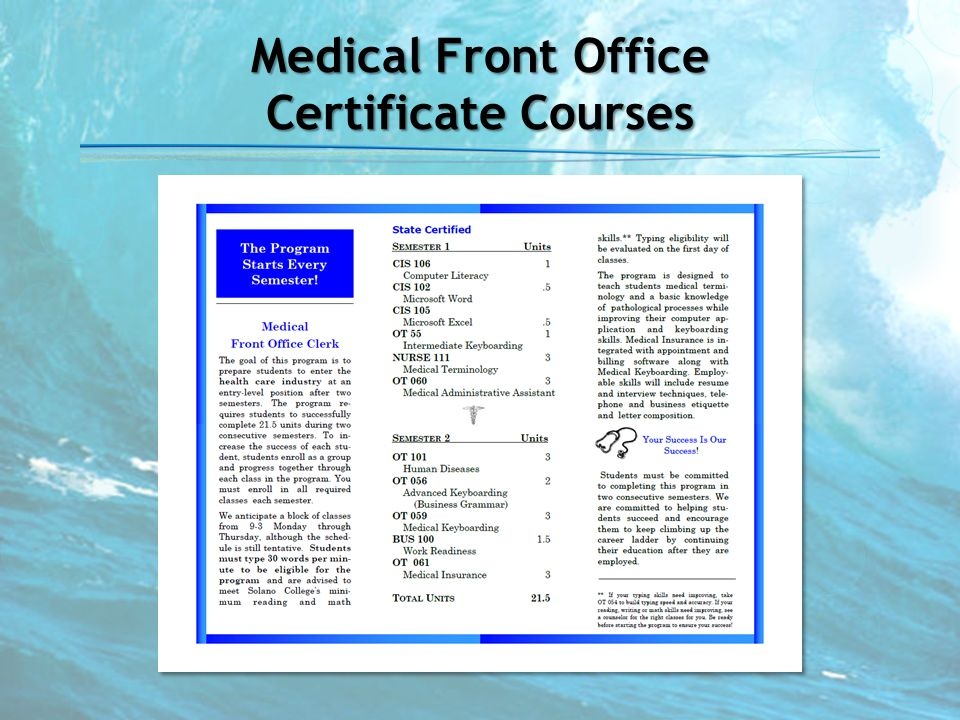 Medical Front Office Certificate Courses