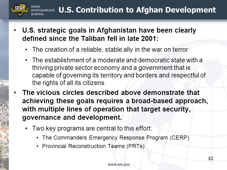 U.S. Contribution to Afghan Development U.S. strategic goals in Afghanistan have been clearly defined since the Taliban fell in late 2001: The creatio