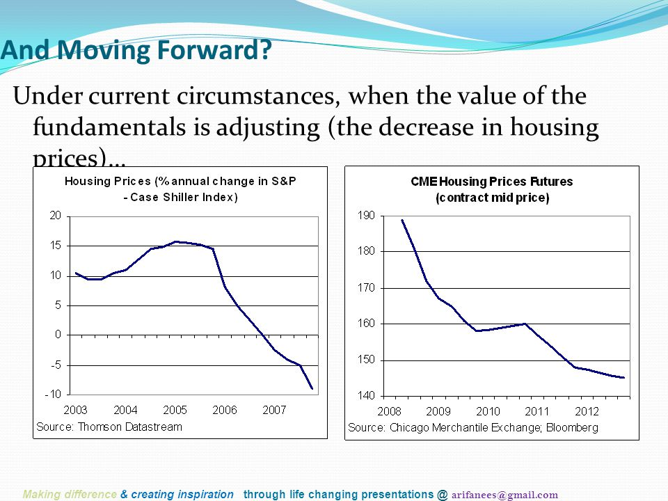 And Moving Forward? Under current circumstances, when the value of the fundamentals is adjusting (the decrease in housing prices)… Making difference &