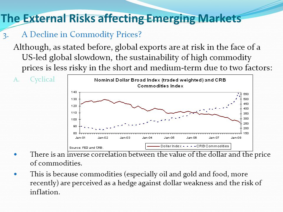 The External Risks affecting Emerging Markets 3. A Decline in Commodity Prices? Although, as stated before, global exports are at risk in the face of