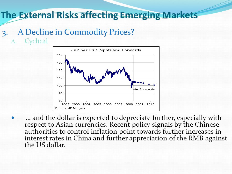 The External Risks affecting Emerging Markets 3. A Decline in Commodity Prices? A. Cyclical … and the dollar is expected to depreciate further, especi