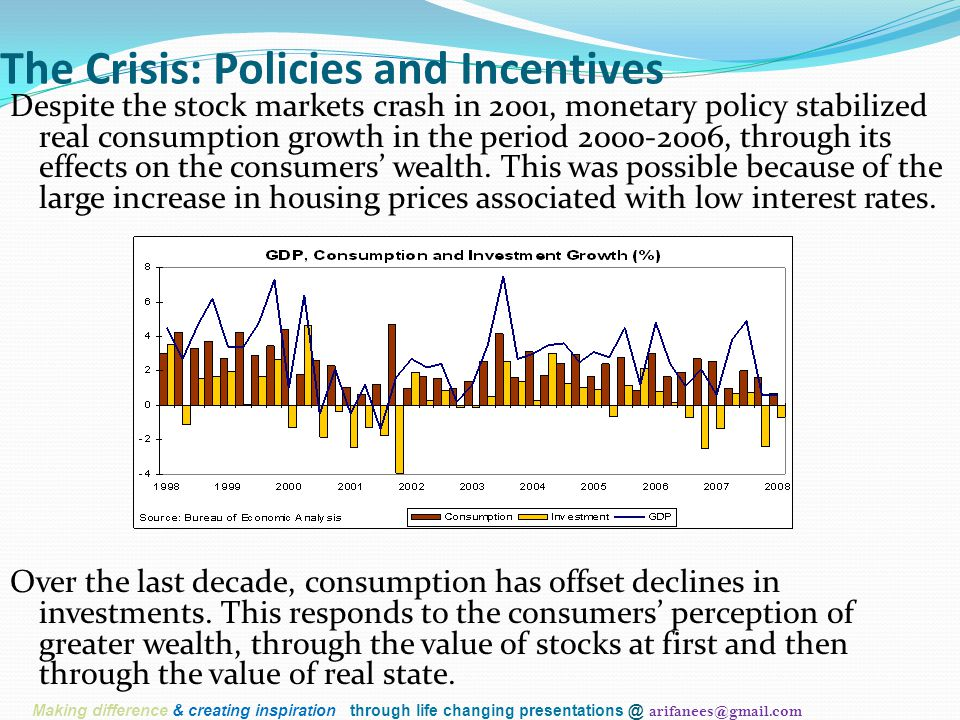 The Crisis: Policies and Incentives Despite the stock markets crash in 2001, monetary policy stabilized real consumption growth in the period 2000-200