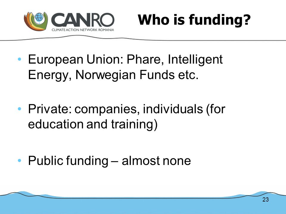 23 Who is funding. European Union: Phare, Intelligent Energy, Norwegian Funds etc.