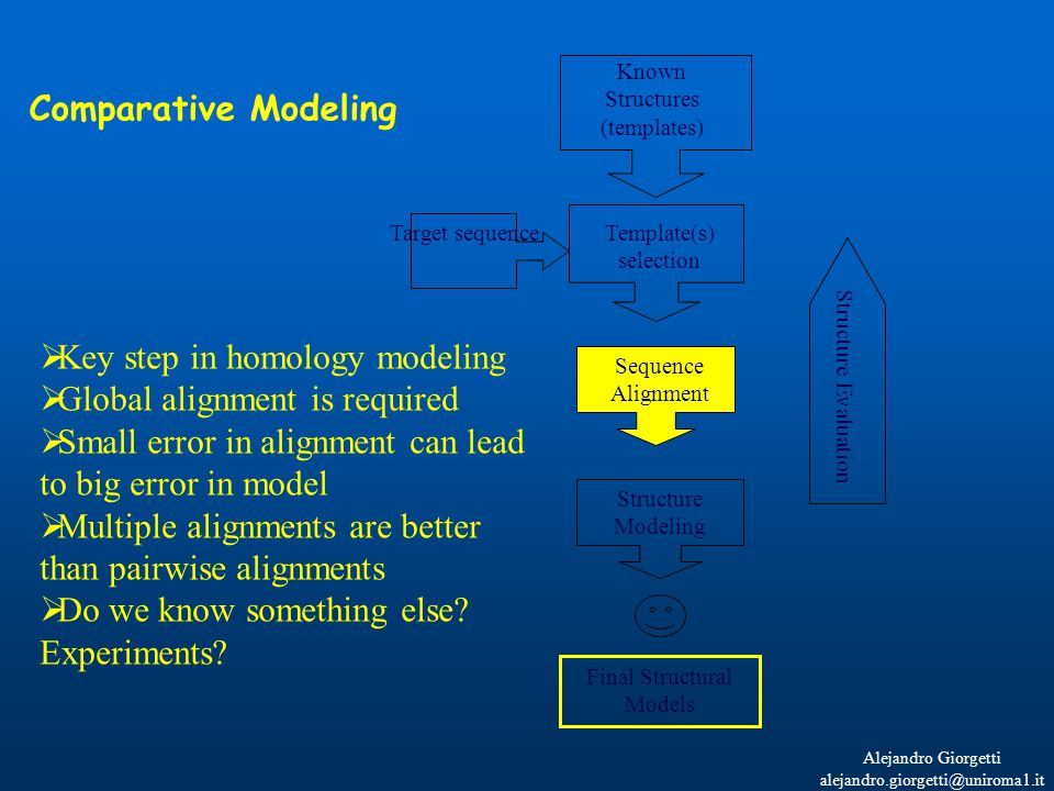 Alejandro Giorgetti alejandro.giorgetti@uniroma1.it Known Structures (templates) Template(s) selection Structure Modeling Structure Evaluation Final Structural Models Target sequence  Key step in homology modeling  Global alignment is required  Small error in alignment can lead to big error in model  Multiple alignments are better than pairwise alignments  Do we know something else.