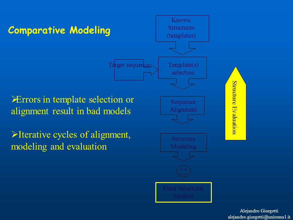 Alejandro Giorgetti alejandro.giorgetti@uniroma1.it Known Structures (templates) Template(s) selection Sequence Alignment Structure Modeling Final Structural Models Target sequence  Errors in template selection or alignment result in bad models  Iterative cycles of alignment, modeling and evaluation Comparative Modeling Structure Evaluation