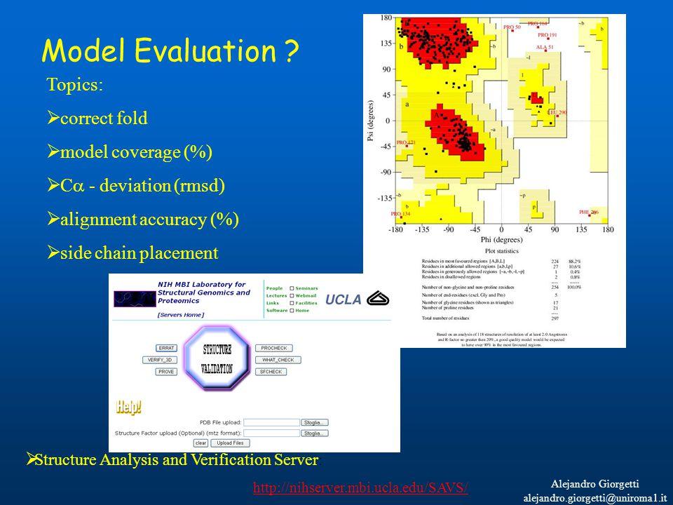 Alejandro Giorgetti alejandro.giorgetti@uniroma1.it Model Evaluation ? Topics:  correct fold  model coverage (%)  C  - deviation (rmsd)  alignmen