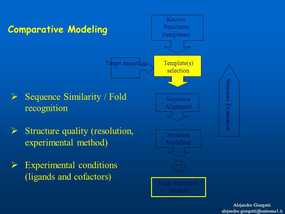Alejandro Giorgetti alejandro.giorgetti@uniroma1.it Known Structures (templates) Sequence Alignment Structure Modeling Structure Evaluation Final Structural Models Target sequence  Sequence Similarity / Fold recognition  Structure quality (resolution, experimental method)  Experimental conditions (ligands and cofactors) Comparative Modeling Template(s) selection