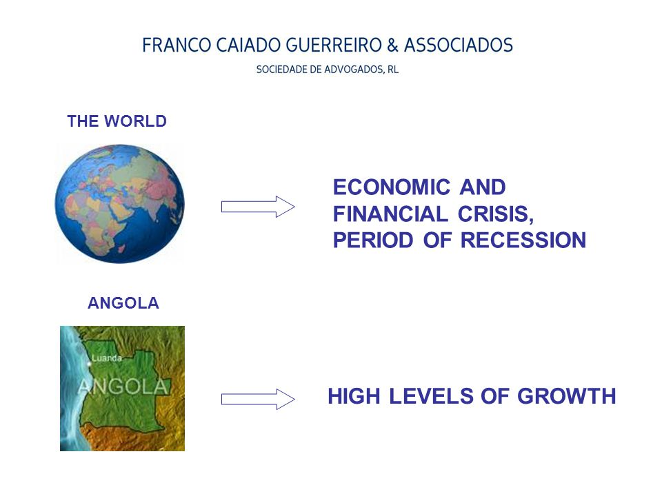 HIGH LEVELS OF GROWTH ECONOMIC AND FINANCIAL CRISIS, PERIOD OF RECESSION THE WORLD ANGOLA