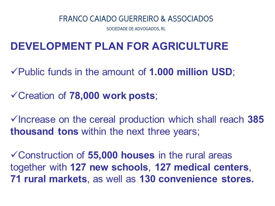 Public funds in the amount of 1.000 million USD; Creation of 78,000 work posts; Increase on the cereal production which shall reach 385 thousand tons