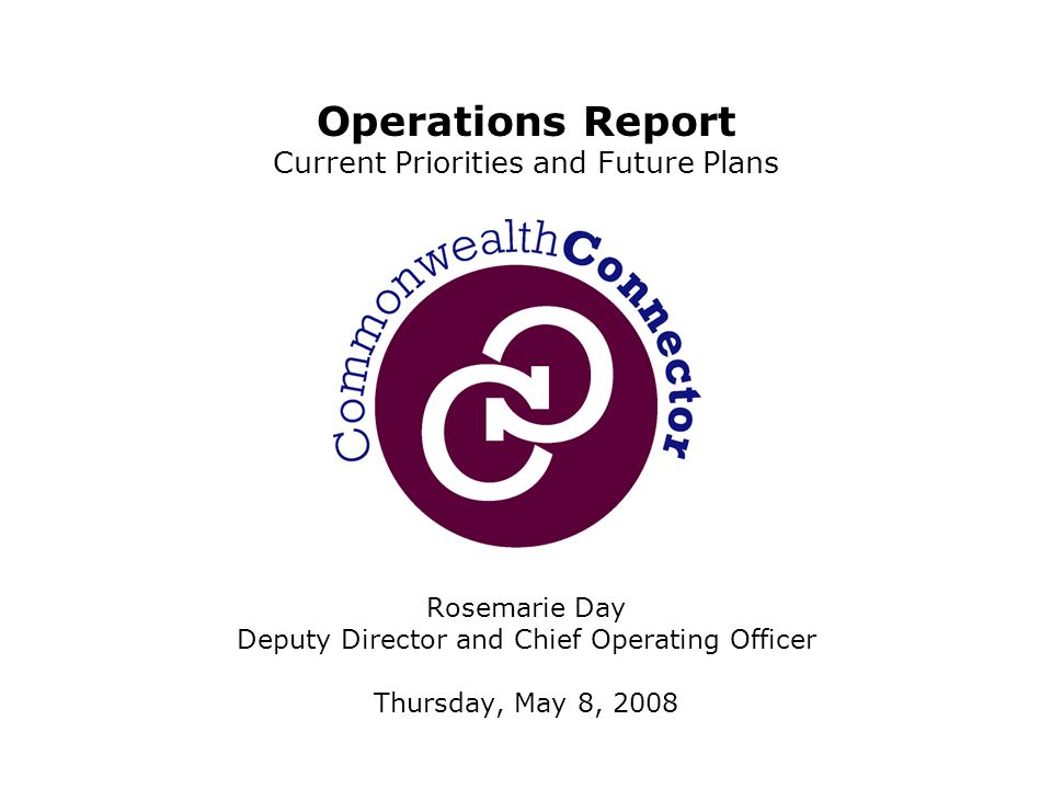 Rosemarie Day Deputy Director and Chief Operating Officer Thursday, May 8, 2008 Operations Report Current Priorities and Future Plans