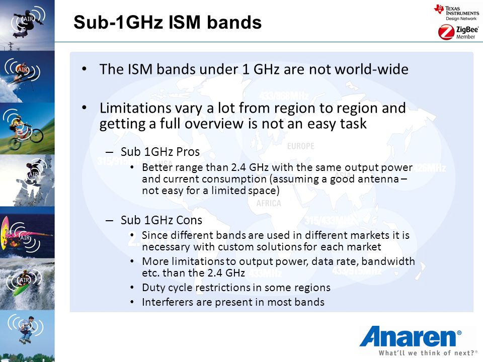 The ISM bands under 1 GHz are not world-wide Limitations vary a lot from region to region and getting a full overview is not an easy task – Sub 1GHz P