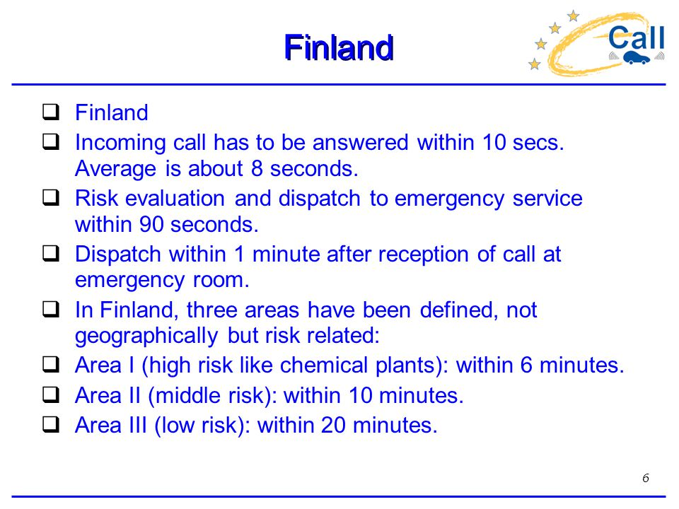 6 Finland  Finland  Incoming call has to be answered within 10 secs.