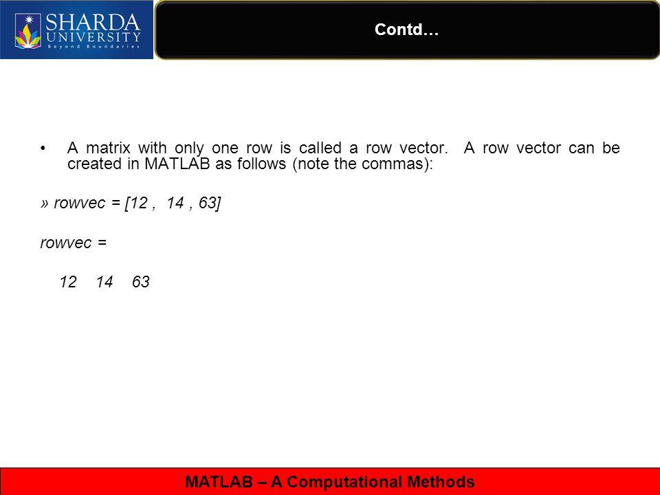 MATLAB – A Computational Methods Contd… x = 0:pi/100:2*pi; y = sin(x); plot(x,y) xlabel( x = 0:2\pi ) ylabel( Sine of x ) title( Plot of the Sine Function )