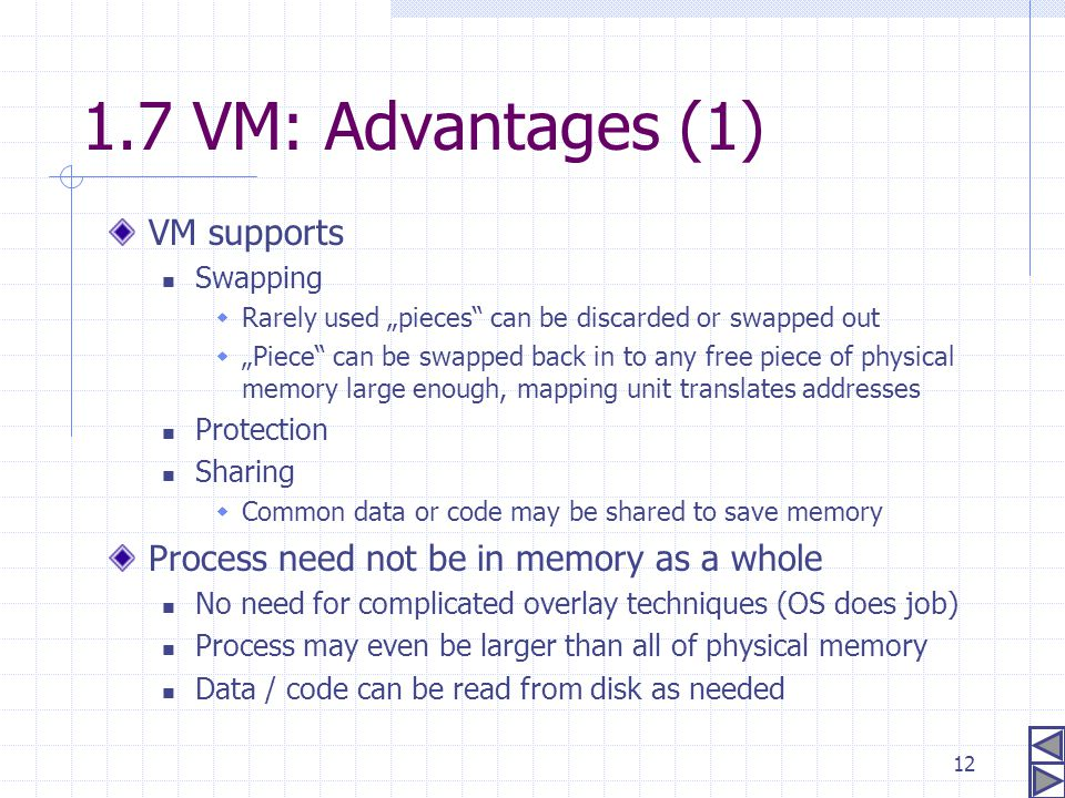 "12 1.7 VM: Advantages (1) VM supports Swapping  Rarely used ""pieces"" can be discarded or swapped out  ""Piece"" can be swapped back in to any free pie"