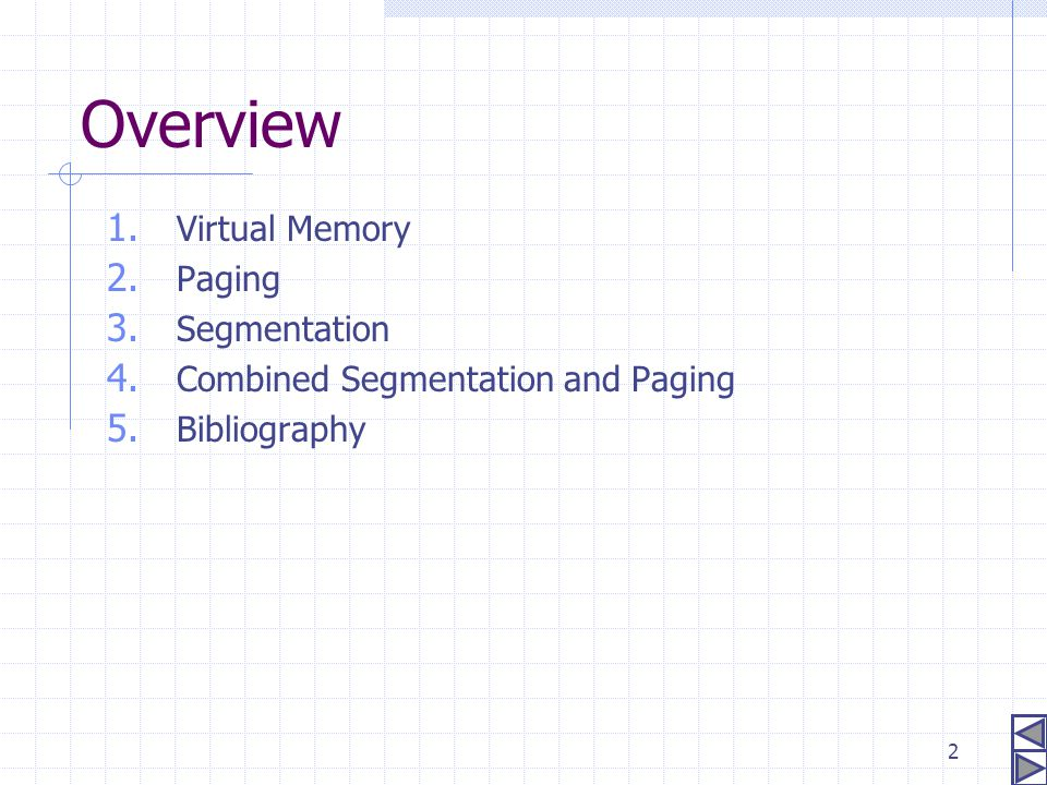 2 Overview 1. Virtual Memory 2. Paging 3. Segmentation 4. Combined Segmentation and Paging 5. Bibliography