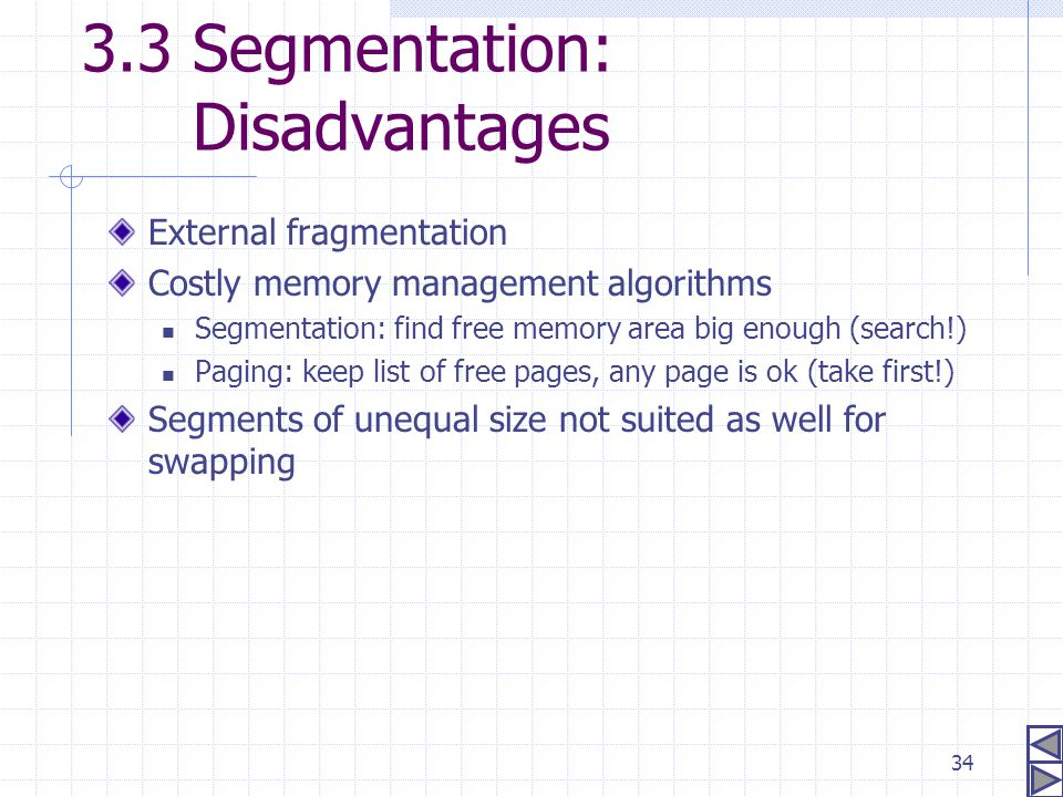 34 3.3 Segmentation: Disadvantages External fragmentation Costly memory management algorithms Segmentation: find free memory area big enough (search!)