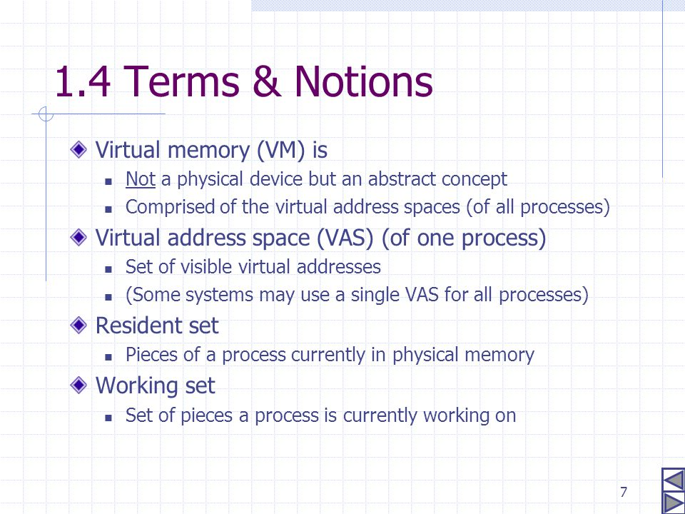 7 1.4 Terms & Notions Virtual memory (VM) is Not a physical device but an abstract concept Comprised of the virtual address spaces (of all processes)
