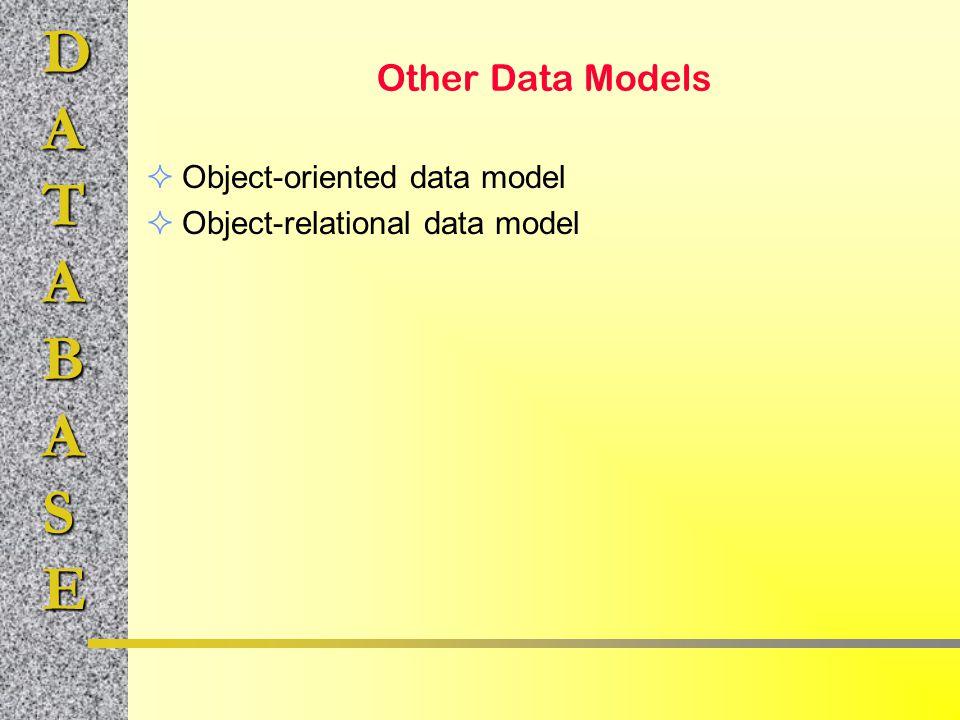 DATABASE Other Data Models  Object-oriented data model  Object-relational data model