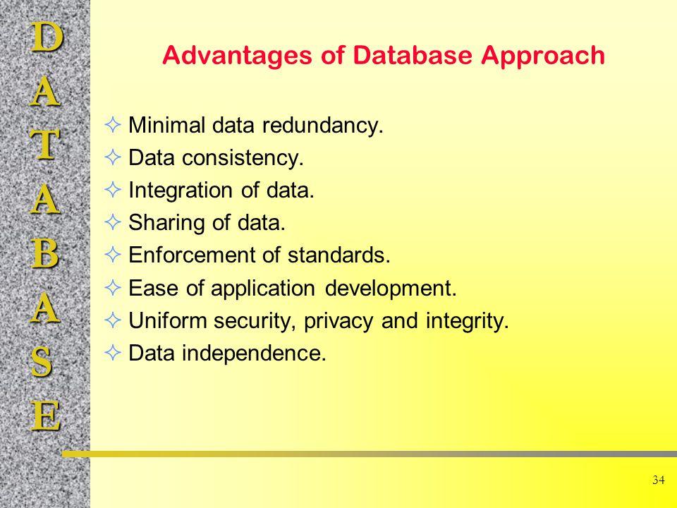DATABASE 34 Advantages of Database Approach  Minimal data redundancy.  Data consistency.  Integration of data.  Sharing of data.  Enforcement of