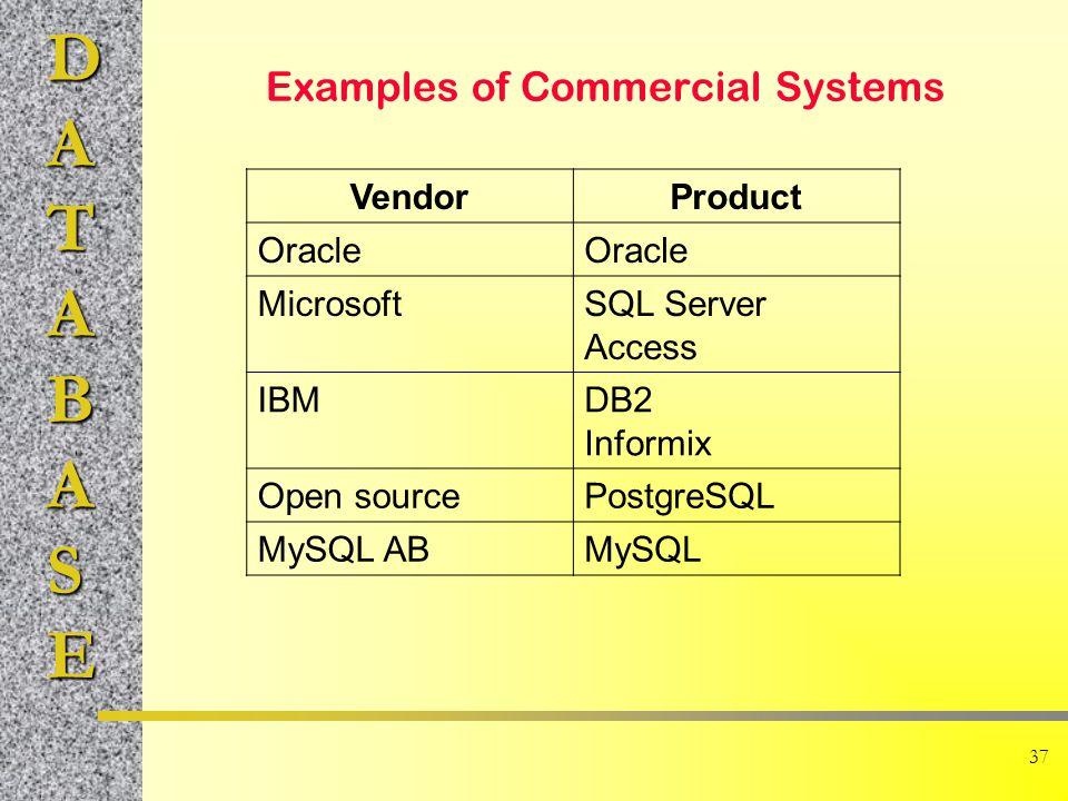 DATABASE 37 Examples of Commercial Systems VendorProduct Oracle MicrosoftSQL Server Access IBMDB2 Informix Open sourcePostgreSQL MySQL ABMySQL
