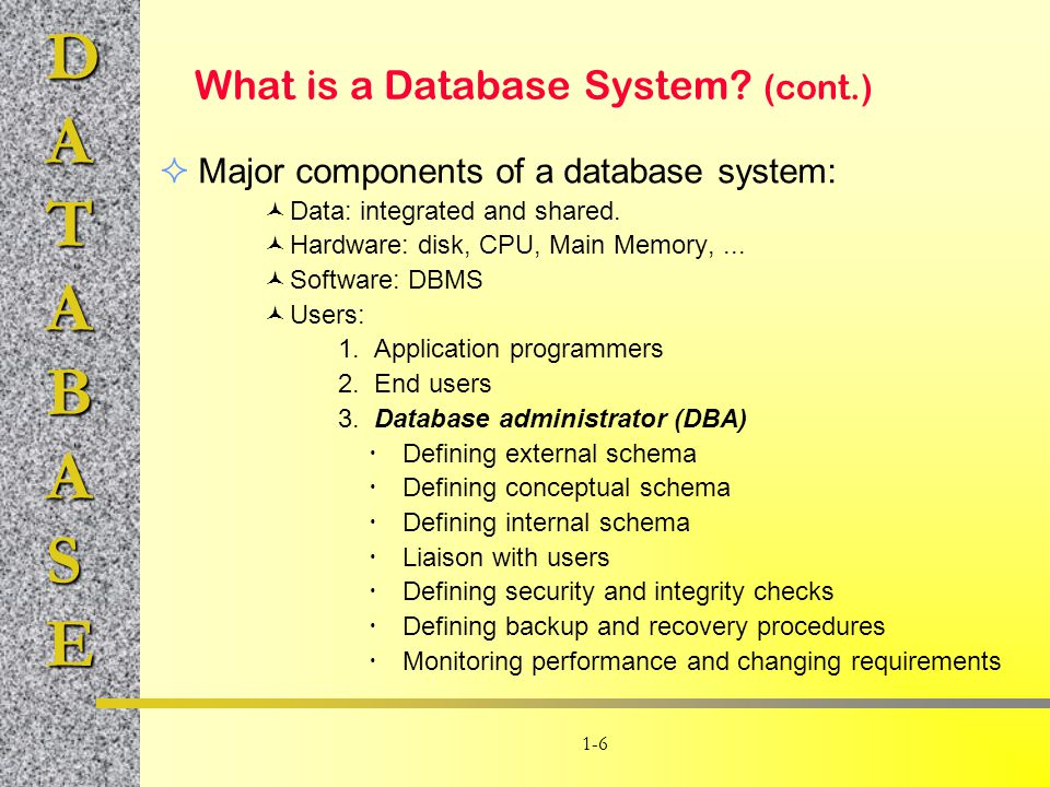 DATABASE 1-6 What is a Database System? (cont.)  Major components of a database system: Data: integrated and shared. Hardware: disk, CPU, Main Memory