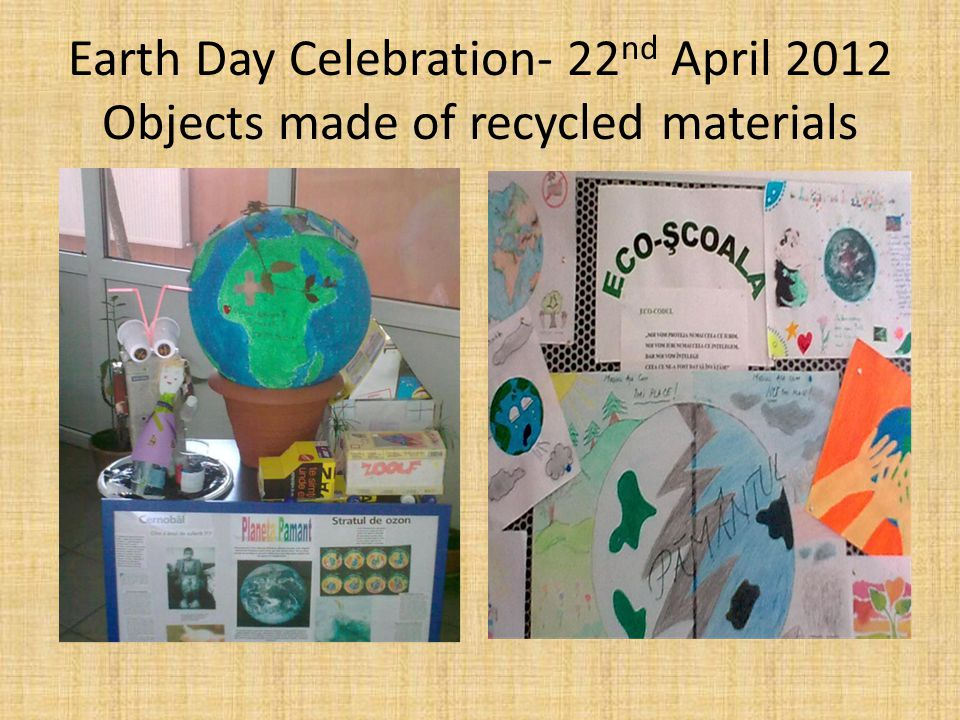 Earth Day Celebration- 22 nd April 2012 Objects made of recycled materials