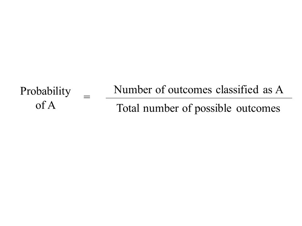 Probability Equation Probability of A = Number of outcomes classified as A Total number of possible outcomes
