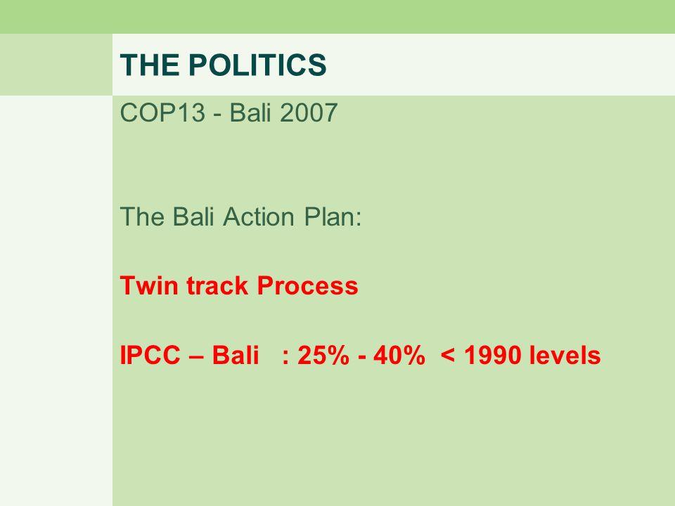 THE POLITICS COP13 - Bali 2007 The Bali Action Plan: Twin track Process IPCC – Bali : 25% - 40% < 1990 levels