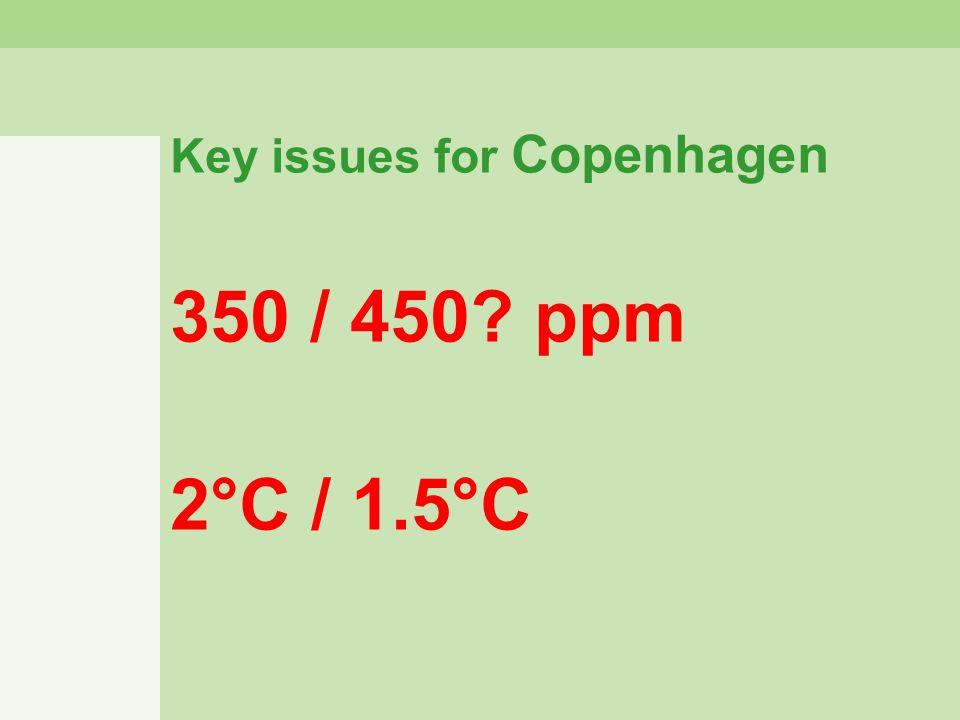 Key issues for Copenhagen 350 / 450? ppm 2°C / 1.5°C