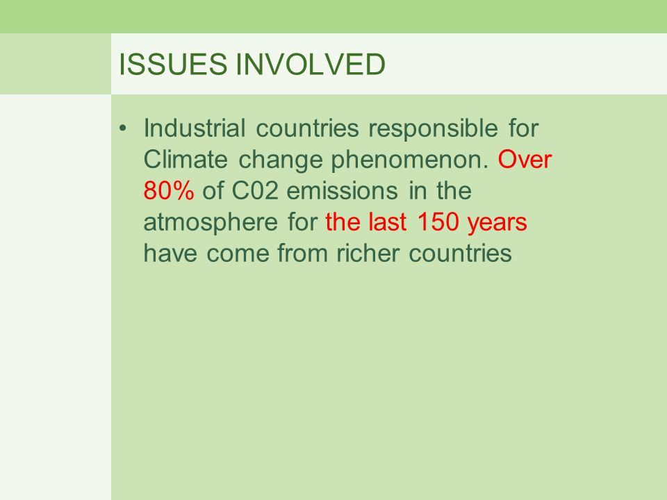ISSUES INVOLVED Industrial countries responsible for Climate change phenomenon. Over 80% of C02 emissions in the atmosphere for the last 150 years hav