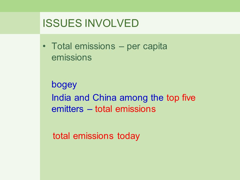 ISSUES INVOLVED Total emissions – per capita emissions bogey India and China among the top five emitters – total emissions total emissions today