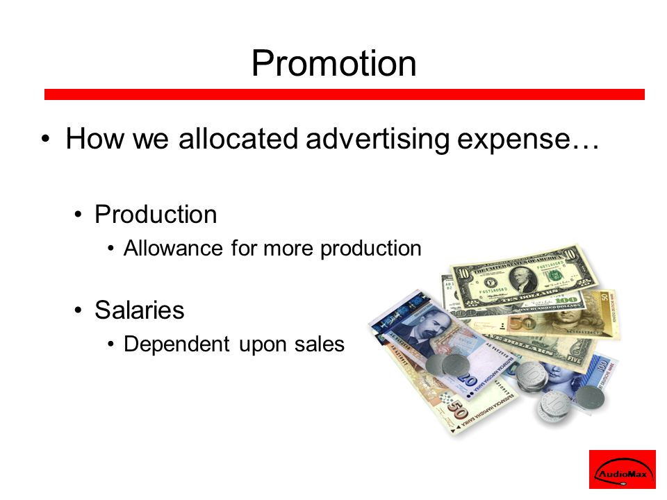 How we allocated advertising expense… Production Allowance for more production Salaries Dependent upon sales AudioMax