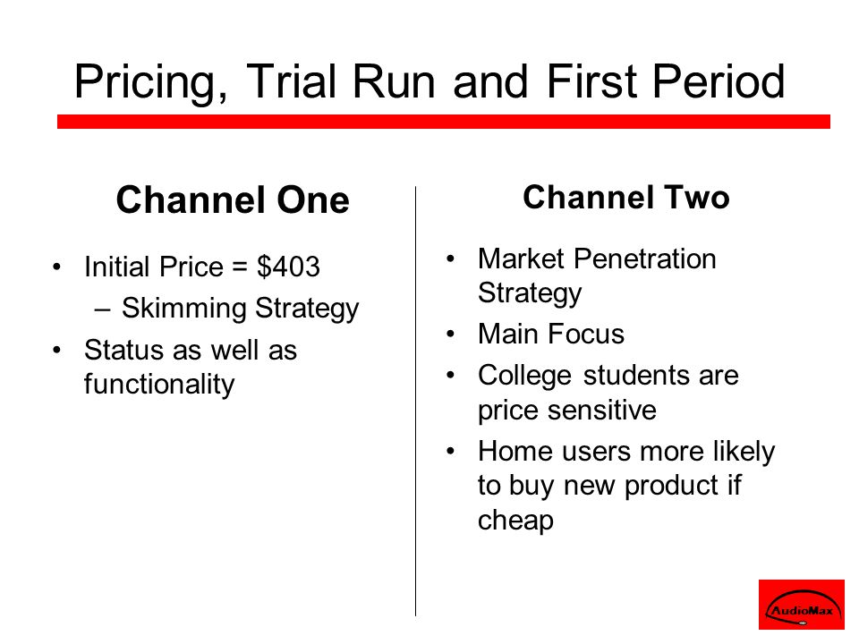 Pricing, Trial Run and First Period Channel One Initial Price = $403 –Skimming Strategy Status as well as functionality Channel Two Market Penetration Strategy Main Focus College students are price sensitive Home users more likely to buy new product if cheap AudioMax