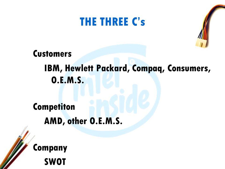 THE THREE C's Customers IBM, Hewlett Packard, Compaq, Consumers, O.E.M.S.