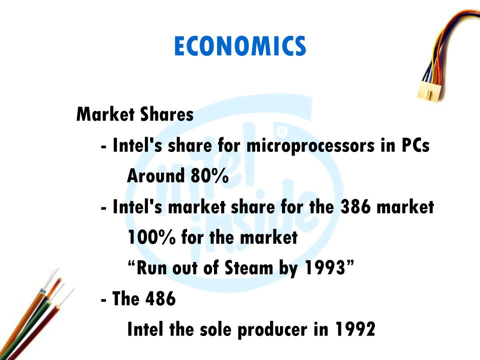 ECONOMICS Market Shares - Intel s share for microprocessors in PCs Around 80% - Intel s market share for the 386 market 100% for the market Run out of Steam by 1993 - The 486 Intel the sole producer in 1992
