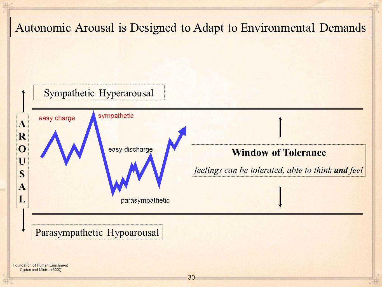 30 Sympathetic Hyperarousal Parasympathetic Hypoarousal Autonomic Arousal is Designed to Adapt to Environmental Demands Window of Tolerance feelings c
