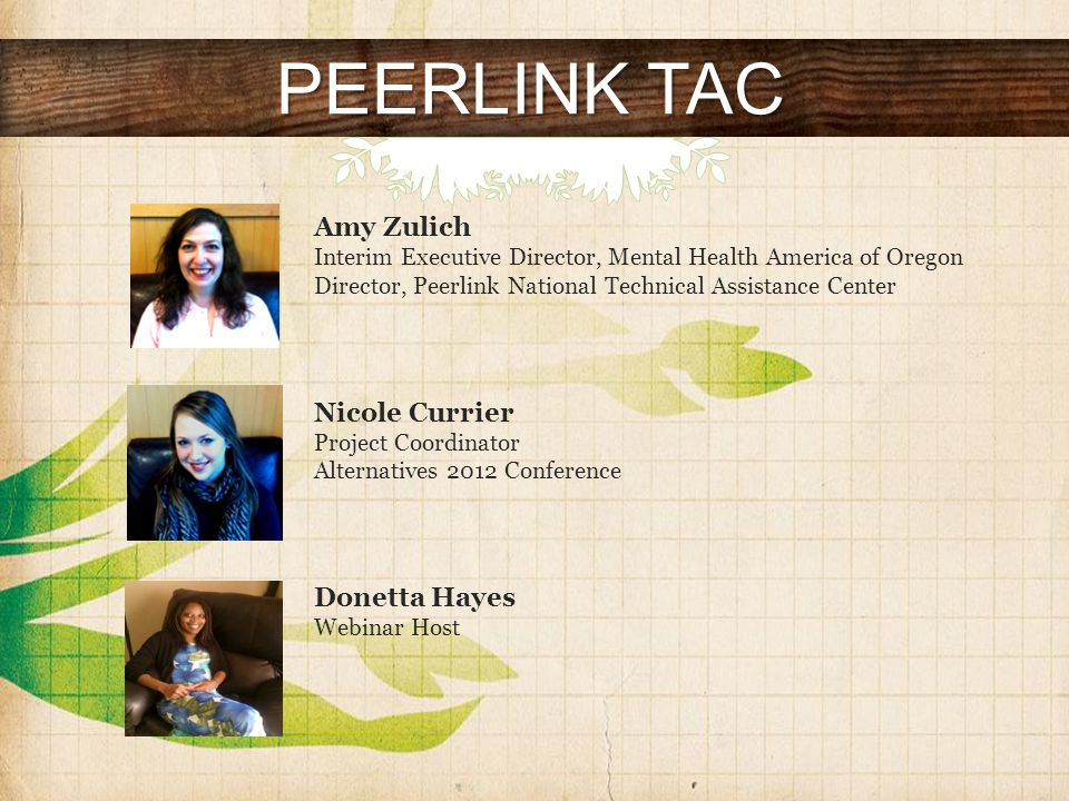 PEERLINK TAC Amy Zulich Interim Executive Director, Mental Health America of Oregon Director, Peerlink National Technical Assistance Center Nicole Currier Project Coordinator Alternatives 2012 Conference Donetta Hayes Webinar Host