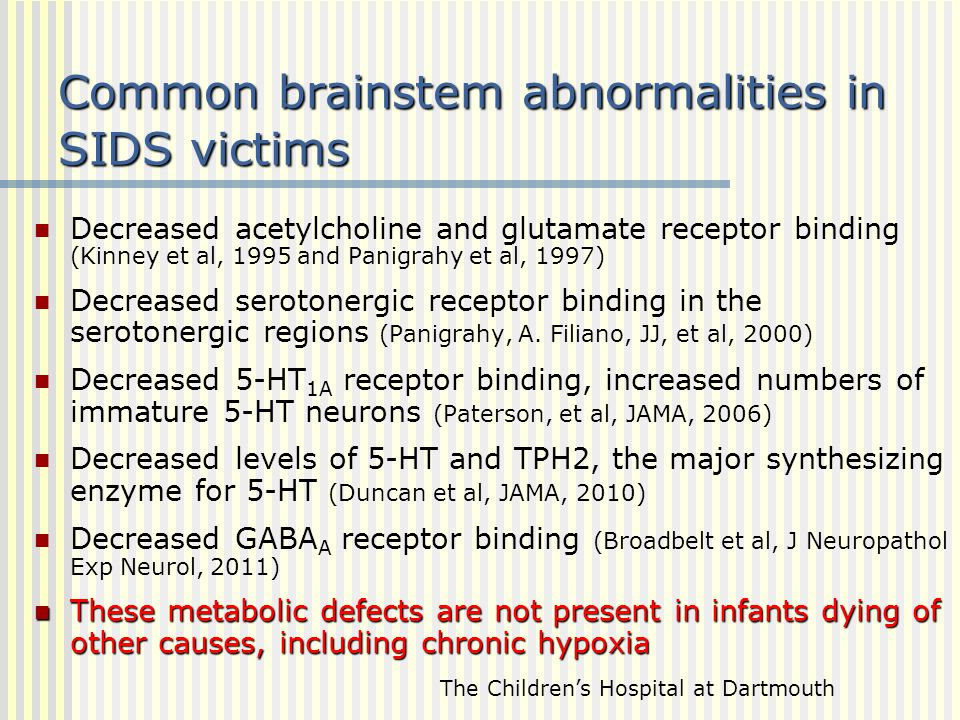 Common brainstem abnormalities in SIDS victims Decreased acetylcholine and glutamate receptor binding (Kinney et al, 1995 and Panigrahy et al, 1997) D