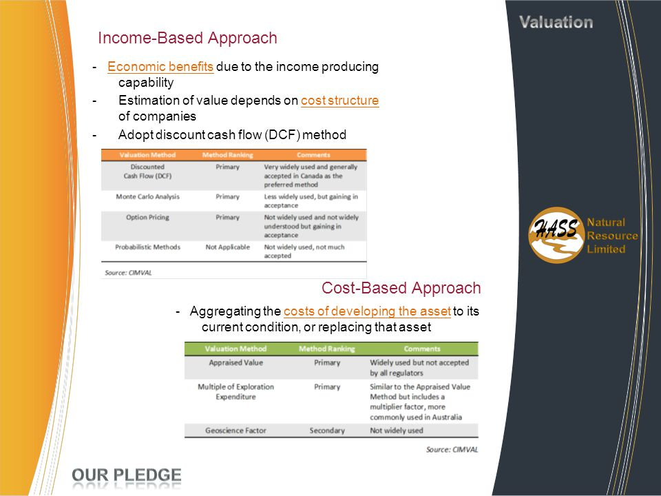 Income-Based Approach - Economic benefits due to the income producing capability -Estimation of value depends on cost structure of companies -Adopt di