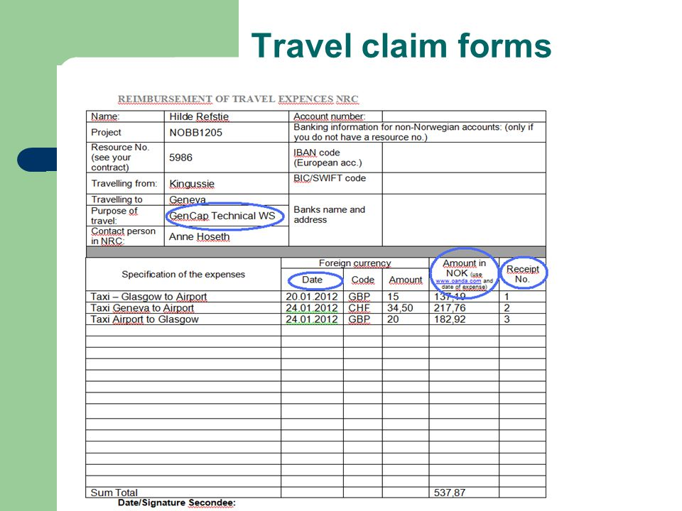 Travel claim forms