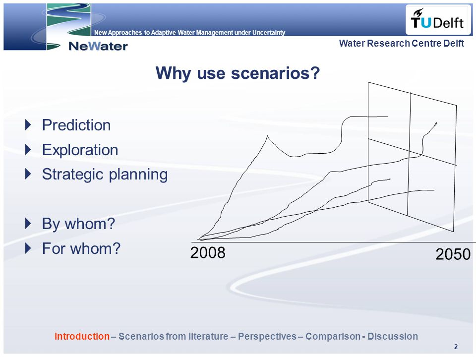 New Approaches to Adaptive Water Management under Uncertainty Fläche f. Logo 2 Why use scenarios? Water Research Centre Delft 2050 2008  Prediction 
